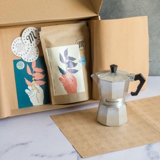 Kit MOKA | Volturno NEGRA 6 pocillos+ Café Manifiesto